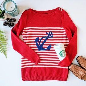 Talbots Anchor Crew Stripe Red Sweater